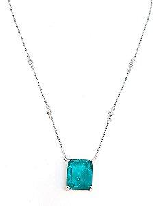 Corrente Prata 925 com Cristal de turmalina paraiba