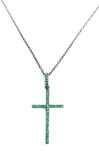 Corrente com pingente de cruz em prata 925 cravejado