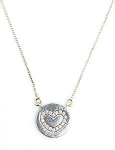 Corrente com pingente de coração  em prata 925 cravejado