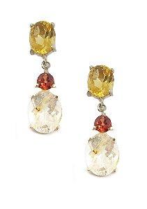 Brinco de Prata 925 e pedras Citrino, Granada e Cristal