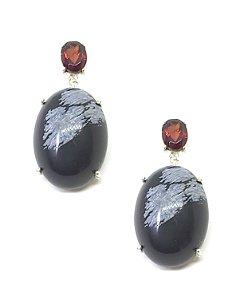 Brinco em Prata 925 com Pedras Granada e Obsidiana