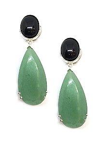 Brinco em prata 925 e pedras naturais  onix e quartzo verde
