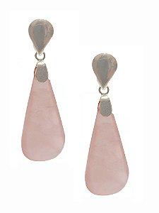 Brinco em prata 925 com pedra natural quartzo rosa