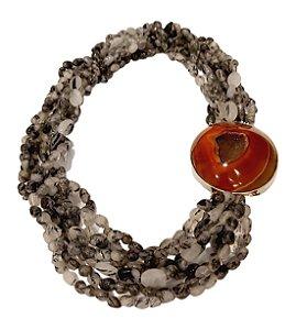 Colar de pedras  naturais com  cristal rutilado e agata