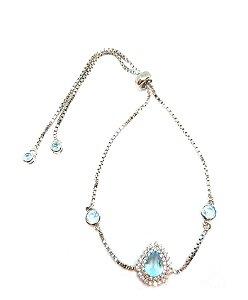 Pulseira em prata 925 com cristal topázio azul