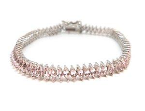Pulseira em prata 925 com pedra natural quartzo rosa