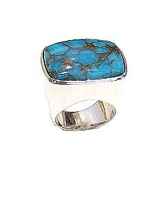 Anel de prata 925 com pedra natural turquesa