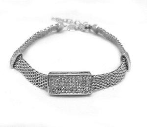 Pulseira em prata 925 cravejada