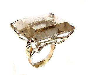 Anel de Prata com Ouro e Cristal Rutilado