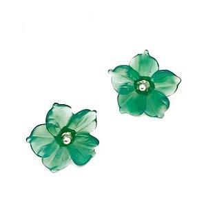 Brinco de Prata com Flor de Quartzo Verde