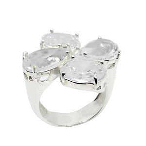 Anel de Prata 925 com Cristal Translúcido