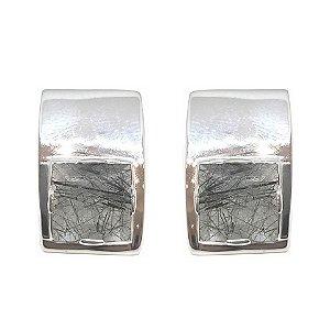 Brinco de Prata 925 com Cristal Rutilado