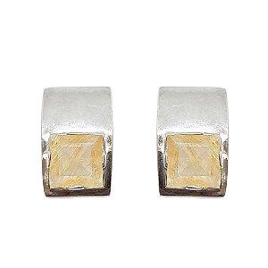 Brinco de Prata 925 com Cristal Rutilado Quadrado