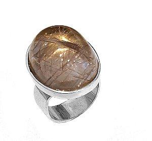 Anel de Prata 925 com Cristal Rutilado