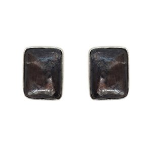Brinco de Prata 925 com Ágata Negra