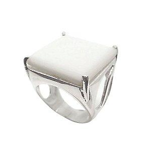 Anel de Prata 925 com Quartzo Branco