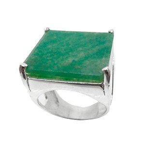 Anel de Prata 925 com Quartzo Verde