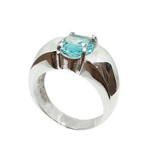 Anel de Prata 925 com Cristal Azul