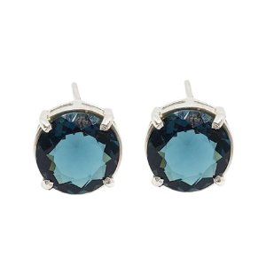 Brinco de Prata 925 com Cristal Azul