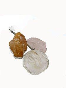 Pingente de Prata 925 com Pedras Naturais