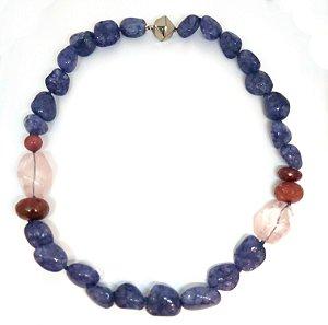 Colar de Quartzo Rosa e Cristal Azul