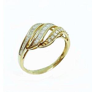 Anel de Ouro 18k Amarelo com Brilhante
