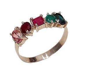 Anel em prata 925 com turmalina rubi e esmeralda