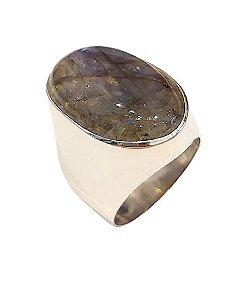 Anel de prata 925 com pedra de labradorita oval