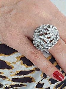 Anel de prata 925 recortado com zirconias