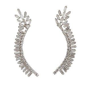 Brinco em prata 925 com zirconias modelo earcuff