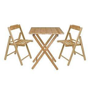 Conjunto de Cadeiras e Mesa de Madeira Tramontina Beer Dobrável em Madeira Teca Envernizado Natural 3 PeçasConjunto de Cadeiras e Mesa de Madeira Tramontina Beer Dobrável em Madeira Teca Envernizado Natural 3 Peças
