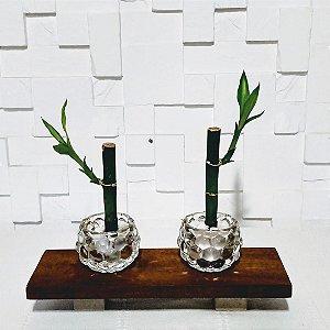 Bambu da sorte  com suporte de vidro