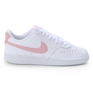 Tênis Nike Couro Court Vision Low Feminino Cor Branco/Rosa