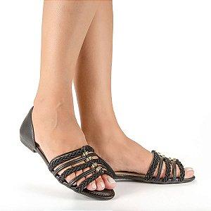 Sandália Dakota Salto Baixo Com Tramas Feminino Cor Preto