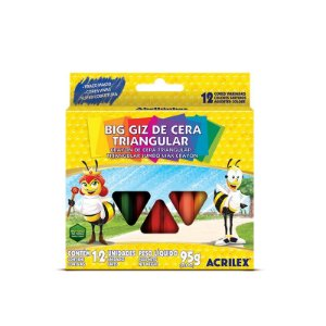 Big Giz de Cera Triangular com 12 cores