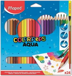 Lápis de Cor Aquarelavel Pincel de Madeira Maped Color Peps 836013 24 Cores