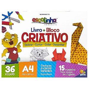 Escolinha Livro + Bloco Criativo - Dobrar colar cortar desenhar Todolivro