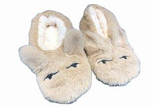Pantufa de Pelinhos com Orelinhas - Cor Bege Tam 37-41