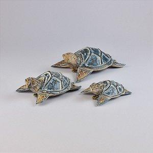 Jogo c/3 Enfeites Tartarugas Azul Escuro