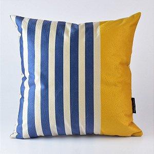 Almofada Náutica Azul Listrado com Amarelo