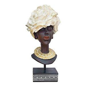 Enfeite Busto Feminino Dourado em Resina