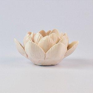 Porta Velas Flor Branca em Cerâmica