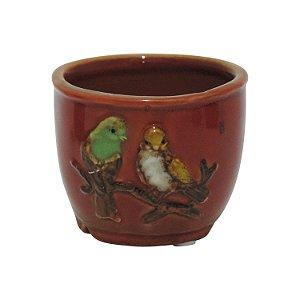 Mini Vaso Pássaro Vermelho