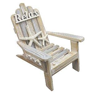 Enfeite Cadeira Relax em Madeira com Estrela do Mar