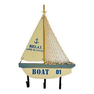 Cabideiro Barco Boat 01 em madeira