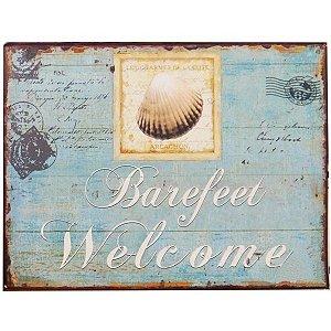 """Quadro """"Barefeet Welcome"""" em Metal"""