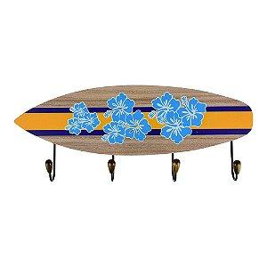 Cabideiro Prancha de Surf Flores em Madeira