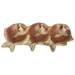 Petisqueira Peixe Triplo em Cerâmica