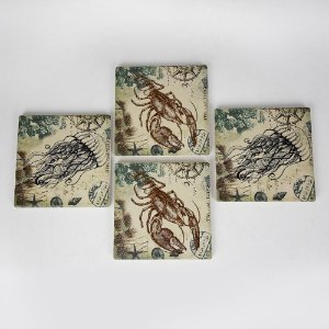 Porta Copos Ocean Jogo C/4 em Cerâmica