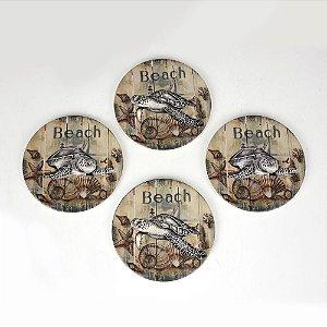 Porta Copos Beach Jogo C/4 em Cerâmica